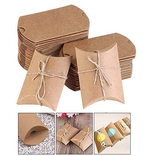Xinlie Rustikale DIY Geschenkboxen Kraftpapier Pralinenschachtel Kraft Papier Geschenk Box Geschenke Boxen Geschenkverpackung mit Juteschnur für Süßigkeiten,Schmuck,Nuss,Schokolade(50 Stück) (Gelb)