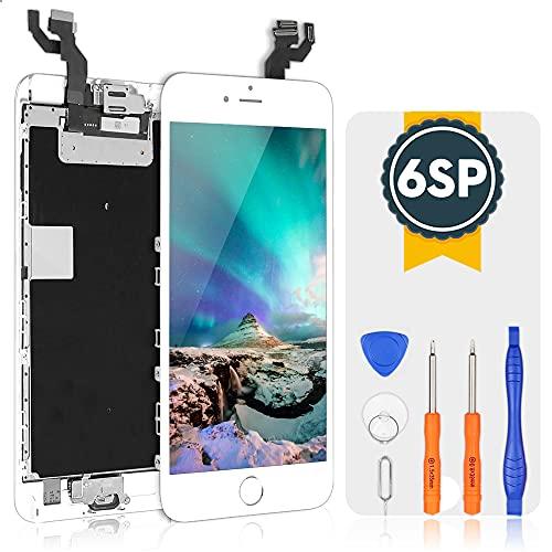 bokman für iPhone 6s Plus Weiß Komplettes Display Ersatzbildschirm LCD Glas Touchscreen Vormontiert mit Home Button, Frontkamera und Hörmuschel