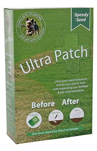 Grass Lawn Speedy Seed, Ultra Patch 1kg Hard Wearing, Fast Growing, Pet Urine Neutraliser, Defra Approved, Grass Seed Patch Repair