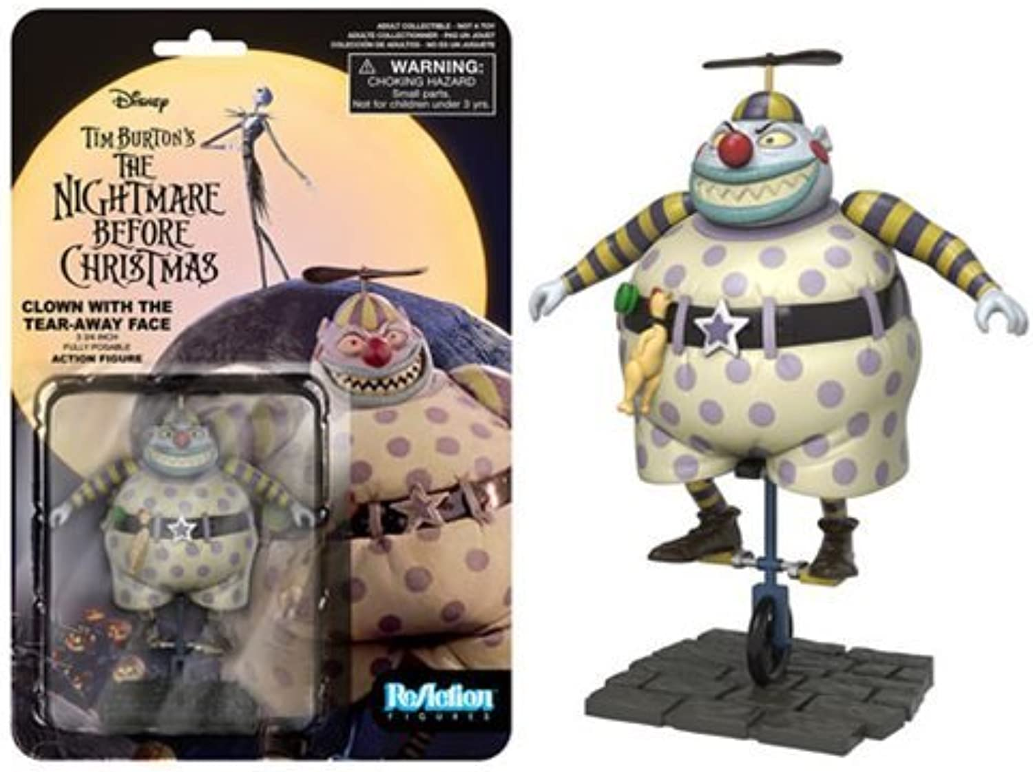 The Nightmare Before Christmas Clown Tear Away Face ReAction 3 3 4-Inch Retro Action Figure by The Nightmare Before Christmas