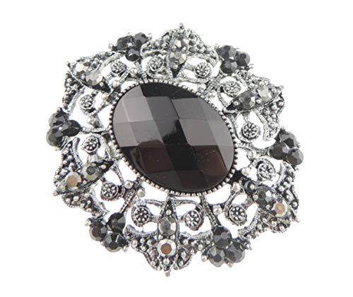 Glamour Girlz Brosche mit schwarzen Schmucksteinen und Kristallen, Vintage-Look, ovales Design