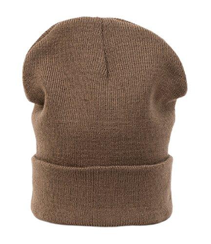 Chapeau d'hiver Beanie Clear Plain rayé hat Bonnet Fashion Jersay Oversize fashion Ski Snowboard (Brown) (Brown)