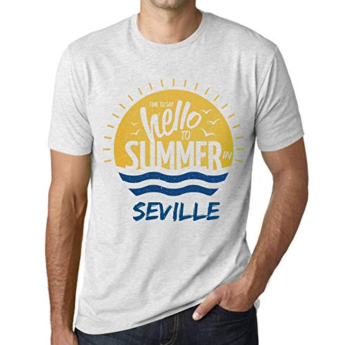 Hombre Camiseta Vintage T-Shirt Gráfico Time To Say Hello To Summer In Seville Blanco Moteado