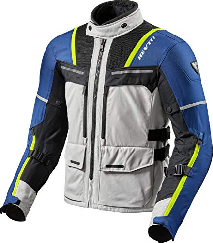 REV'IT! Motorradjacke mit Protektoren Motorrad Jacke Offtrack Textiljacke Silber/blau XL, Herren, Enduro/Adventure, Ganzjährig, Polyester