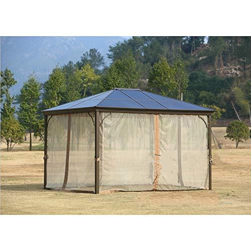 BNXXINGMU Gazebo de jardín al Aire Libre de 12 'x 10' Gazebo de Patio Toldo de Aluminio con Techo rígido Mosquitera y Cortinas para el área de la Piscina