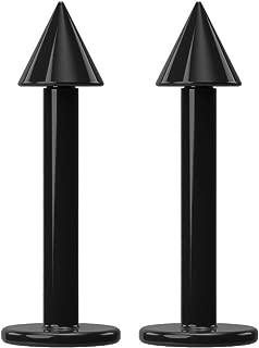 16g 5/16 Black Labret Monroe Plastic 1.2mm Flexible Acrylic Bar Ball Ear Tragus Stud Forward Helix Piercing Jewelry Studs Conch Lip Earring Cartilage 16 Gauge (8mm) Cone Spike x 2 set by BLING UNIQUE