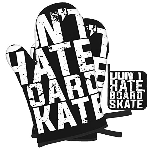 Don&Amp;#39;T Hate, Board Skate For Lovers Of Skateboarding Oven Mitts And Pot Holders Set, Heat...