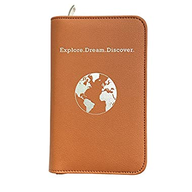 Phone Charging Passport Holder Travel Case w/Power Bank-iPhone, Galaxy & More-RFID Blocking (Cognac)