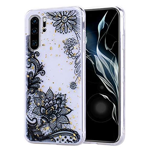 Misstars Glitzer Hülle für Huawei P30 Pro, Bling Pailletten Transparent Weich TPU Silikon mit Schwarz Blumen Malerei Muster Backcover Anti-Rutsch Kratzfeste Schutzhülle für Huawei P30 Pro