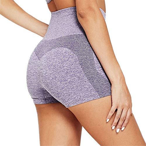 SotRong Pantalones Cortos de Entrenamiento Sin Costuras para Mujer Cintura Alta Control de Barriga Pantalones Cortos de Estiramiento para Yoga Pantalones Cortos de Verano Sexy Púrpura S