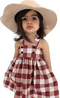 Baby Girls Dress,6-24M 2-4Y Toddler Kid Baby Girl Sleeveless Plaid Party Princess Casual Dress Clothes