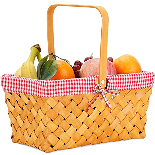 picnic items for kids Woodchip Picnic Basket with Folding Handle,Natural Hand Woven Easter Basket,Easter Eggs and Easter Candy Basket,Bath Toy and Kids Toy Storage,Gift Packing Basket.