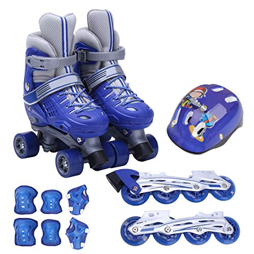 ZCRFY Rollschuhe Kinder mädchen Jungen Verstellbar Inline Skates Quad Roller für 6-12 Jahre Inliner Mit Schutzausrüstung Helm Set,Blue-M(31-34)