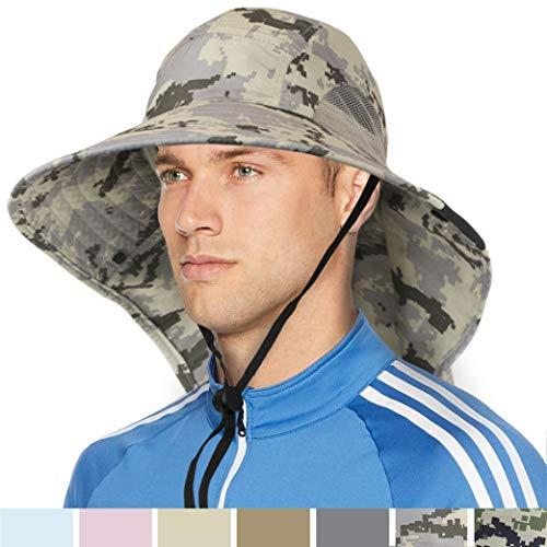 Wide Brim Sun Hat with Neck Flap, UPF50+ Hiking Safari Fishing Hat for Men Women Gray Camo