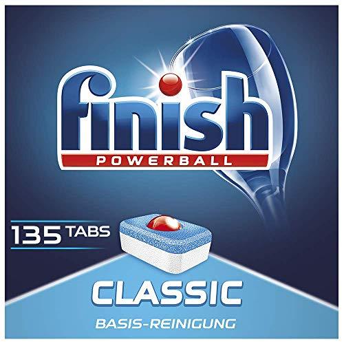 Finish Classic Spülmaschinentabs, phosphatfrei – Geschirrspültabs mit Powerball für die Basis-Reinigung des Geschirrs – Sparpack mit 135 Finish Tabs