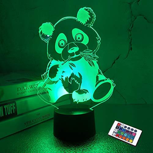 Panda Geschenke, 3D Lampe Kinder Nachtlicht mit Fernbedienung 16 Farben, automatische Änderung mit Touch-Schalter Schreibtisch Weihnachtsgeburtstagsgeschenke für Kinder
