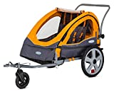 InStep Sierra Double Seat Foldable Tow Behind Bike Trailers, Converts to Stroller/Jogger, Featuring 2-in-1 Canopy and 20-Inch Wheels, for Kids and Children, Orange
