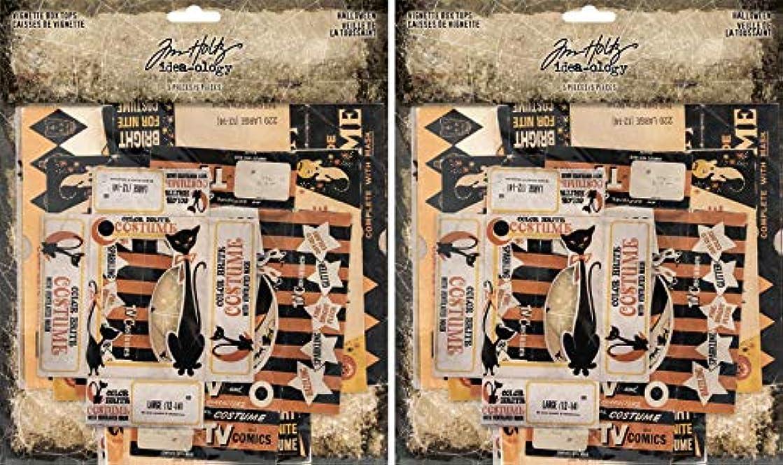 Tim Holtz Idea-ology 2018 Halloween Vignette Box Tops - Two Packs - 10 Tops Bundle