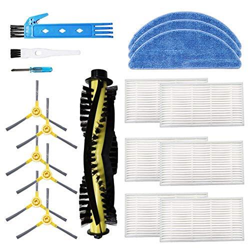 BSDY YQWRFEWYT Kit accessori di ricambio per aspirapolvere Robot IKOHS netbot S18, materiale Premium, confezione famiglia di 1 spazzola principale + 6 filtri + 6 spazzole Laterali + 3 mop