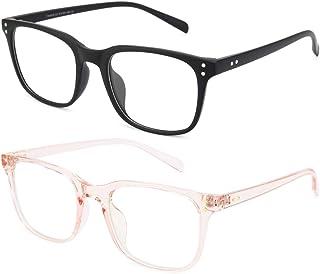 Livho 2 Pack Blue Light Blocking Computer Glasses for Women Men,TR90 Light Weight Frame Anti Eyestrain UV Lens LI5025 (Matte Black+Clear Pink)