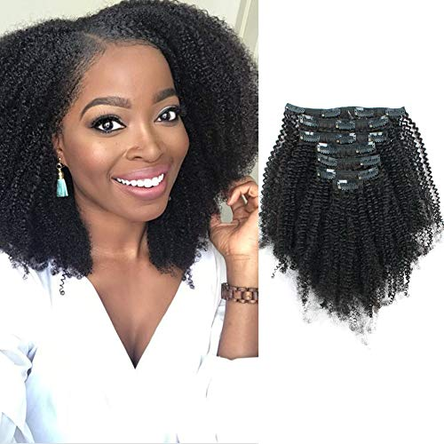 Lovrio Hair 9A Grade Afro Coily Clip in Human Hair Extensions Afro Kinky Curly 4B 4C Big Thick Double Weft Real Remy Hair for Black Women 4AC Hair 7 Pieces 120g 14 Inch