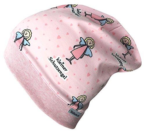 Wollhuhn Beanie-Mütze in rosa mit SCHUTZENGELCHEN, für Mädchen, 20170825, Gr S: KU 48/50 (ca 1-3 Jahre)
