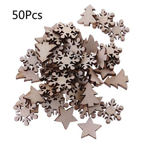 Koobysix 50 Stücke Holz Verschönerung Holz Schneeflocke Stern Baum Winter Festival Weihnachten Form Handwerk Tischdeko,Hochzeitdeko Streudeko DIY Handwerk Verzierungen Naturholzscheiben