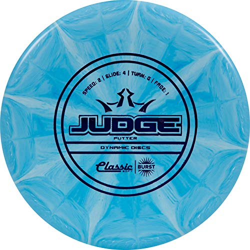 Dynamic Discs Classic Soft Burst Judge Disc Golf Putter | Throwing Frisbee Golf Putter | Stable Disc Golf Flight | Beaded Disc Golf Putter | Stamp Colors Will Vary (Blue/White)