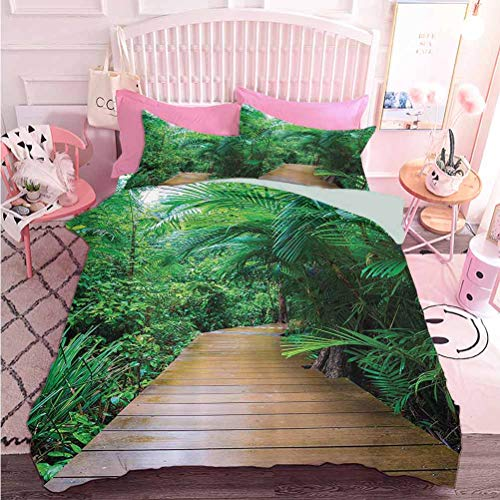 Hiiiman Home Decor Textile Deck Timber Jetty Exotic Getaway Wilderness Footpath Tropic Plants Rainforest (3pcs, California King Size) 1 Duvet Cover and 2 Pillowcovers