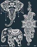 Mikronetz Tattoo Schablonen für Körperbemalung einfach und wiederverwendbar Mes09 Elefanten und...