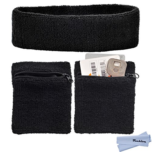 Techion Sports Sweatband Set Including 1 Pack Headband and 3 Pack Wristbands with Zipper Pocket/Wallet for Cycling, Running, Tennis, Basketball and More
