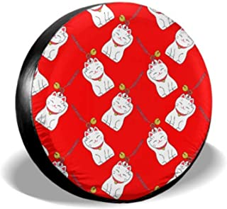 Maneki Neko Lucky Fortunate Welcome Cat Car Tire Cover Tired Covers Tire Cover Waterproof Uv Sun 14 - 17 Fit for Jeep Trailer Rv SUV and Many Vehicle