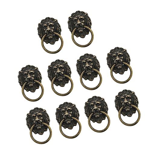 Tglabayun - Maniglia per porta e armadietto, stile vintage, stile vintage, con leone, per cassettiere, armadietti, porte, anelli, in lega di zinco, per armadi, scatole di gioielli