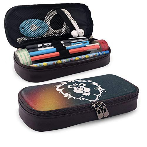 World Warcraft Leather Pen Case Holder Cosmetic Double Zipper Bag for Adults Girls Boys School Office