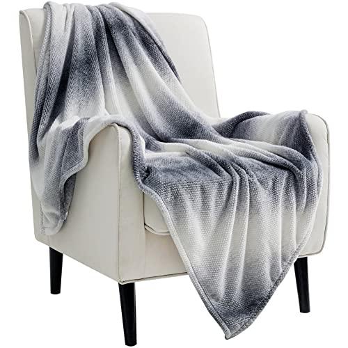 Bedsure Fleece Throw Blankets for Couch Grey -...