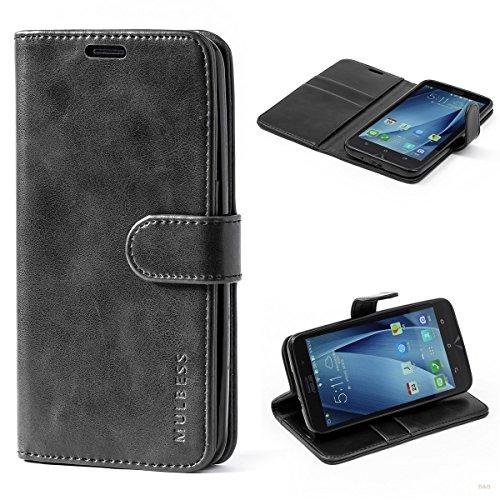 Mulbess Handyhülle für Asus ZenFone 2 ZE551ML Hülle Leder, Handy Klapphülle Schutzhülle Handytasche für Asus ZenFone 2 ZE551ML Tasche, Schwarz