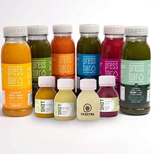 Pressbar Saftkur mit Shots | 6 Tage 36 Flaschen + 12 Shots | Kaltgepresste Säfte für Deine Kur | hochwertige und geschmacksintensive Obst & Gemüse Säfte. Achtung: Kühlware, nach Erhalt sofort kühlen