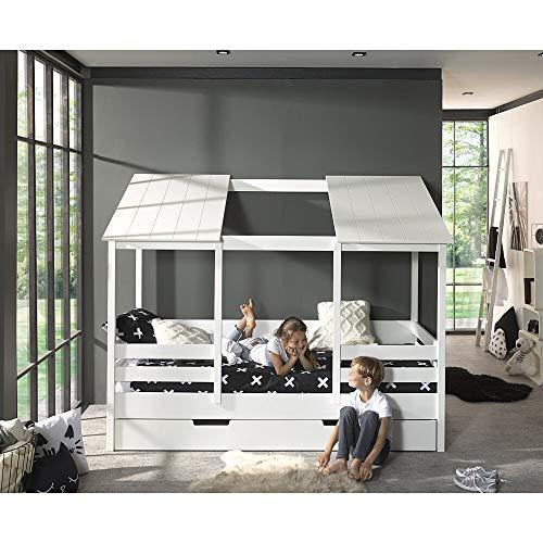 Lomadox Hausbett Kinderbett mit 90 x 200 cm Liegefläche und Bettschublade Spielbett