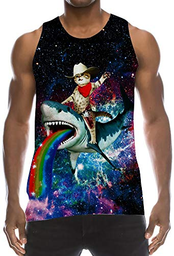Tanks Top 80s Low Cut Thin Strap Sleeveless T Shirts Colorful Nebular Astronautic Space Cat Ride Shark Wife-Beater Decent Jersey Tank for Summer Tropical Casual Daily Working Wear