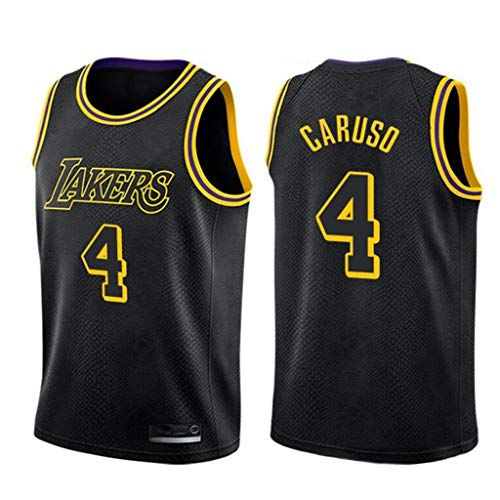 XYHS Herren-Basketballtrikot, Alex Caruso # 4 Los Angeles Lakers Retro Gym Sportswear Atmungsaktives Mesh-Basketballtrikot Heißpressversion-M