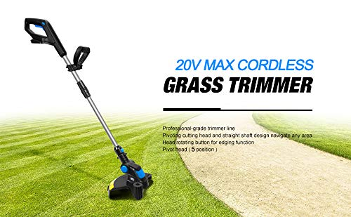 Great Features Of Lawn Mower Electric Grass Trimmer 20V Lithium-ion 2000mAh Cordless Grass String Tr...