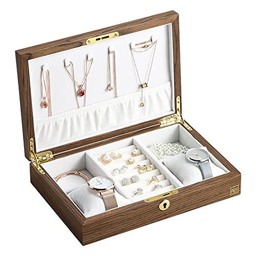 Caja de almacenamiento de joyas Caja de organizador de joyería de nuez sólida con cajones de joyería de viaje de cajones Regalo, para anillos, collares, pendientes, pulseras Organizador para mujeres C