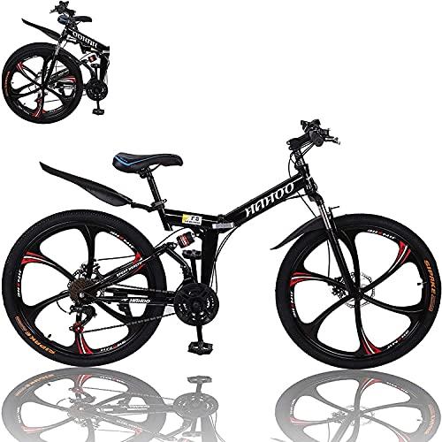 Bicicleta de montaña plegable de 26 pulgadas de 21 velocidades de acero al carbono, suspensión completa MTB bicicleta para adulto, freno de disco doble bicicleta de montaña al aire libre (C)
