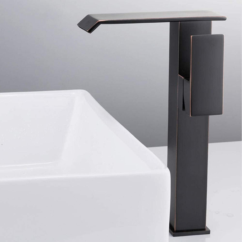 Gorheh Bad Becken Wasserhahn Deck Montiert Wasserfall Heies Und Kaltes Wasser Waschbecken Mischbatterie Einhebelmischer Schwarz Mischbatterie