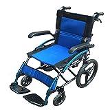 WDDMFR Transportrollstuhl mit leichtem Stahlrahmen - Tragbarer zusammenklappbarer Reiserollstuhl - ca. 55 cm Sitzfläche -