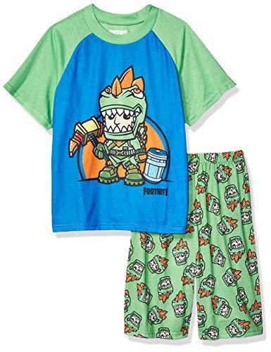 Fortnite Boys' Big 2-Piece Pajama Set, Green, 10