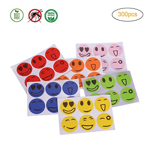Mallalah 300 zelfklevende patches tegen muggen, glimlachend gezicht, bescherming tegen insecten, citroengras, cartoon, uitdrukkingen, muskietenafstotend
