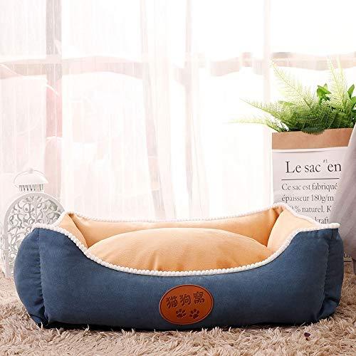 Stella Fella Cachemira + paño antideslizante + algodón tridimensional de alta elasticidad caseta para gatos extraíble y lavable, suministros para mascotas, color azul + beige, multicolor (tamaño: XL)