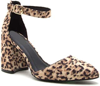EIGHT EIGHTEEN Women's HOT Adorable Leopard/Black Mary Jane Pointed D'Orsay Pump Chunky Closed Toe Heel Shoes