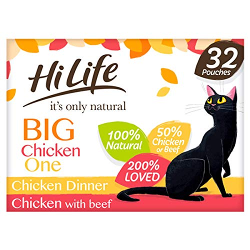 HiLife It's Only Natural Cat Food The Big Chicken One, 32 x 70g Pouches